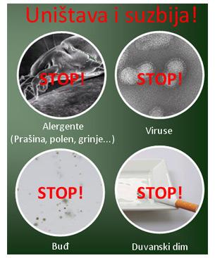 Unistava i suzbija alergene, viruse, budj, duvanski dim